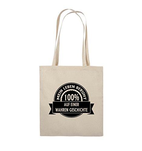 Comedy Bags - Mein Leben beruht 100% auf einer wahren Geschichte - Jutebeutel - lange Henkel - 38x42cm - Farbe: Schwarz / Silber Natural / Schwarz