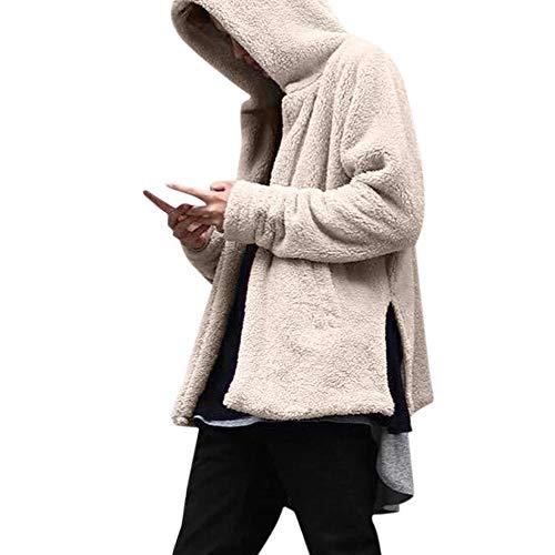 JiaMeng Hombres Jacket Invierno Chaqueta con Capucha Moda Invierno Casual Suelta Doble Cara de Felpa con Capucha Capa Superior(Beige,M)