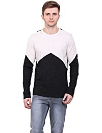 LE BOURGEOIS Black and cream color round neck full sleeve cotton men's t-shirt