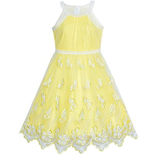 Sunboree Mädchen Kleid Gelb Schmetterling bestickte Halfter kleiden Gr. 146