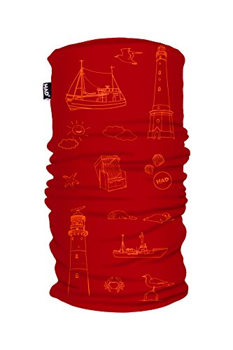 HAD Printed Fleece Tube Funktionstuch, Nordsee Red, one size