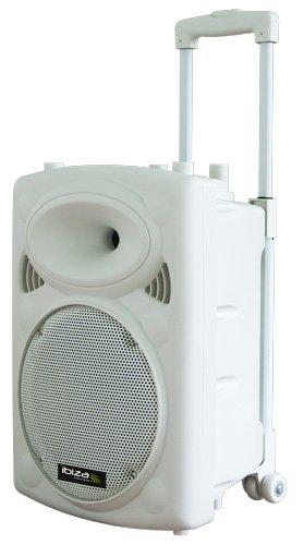Ibiza Port10VHF-BT Impianto audio portatile cassa attiva (500 Watt, ingressi USB SD MP3, 2 microfoni, cuffie, batteria integrata, telecomando) - bianco