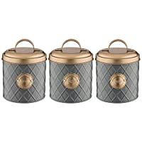 Typhoon Grey Stainless Steel Tea Coffee Sugar Canister Storage Jar Container Set