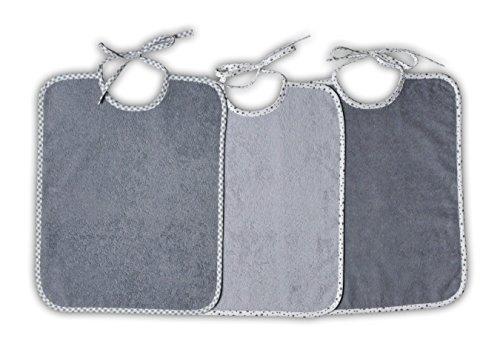 3 x Riesenlätzchen Frottee Top Qualität zum Binden 32 x 40 cm (Sternchen grau)