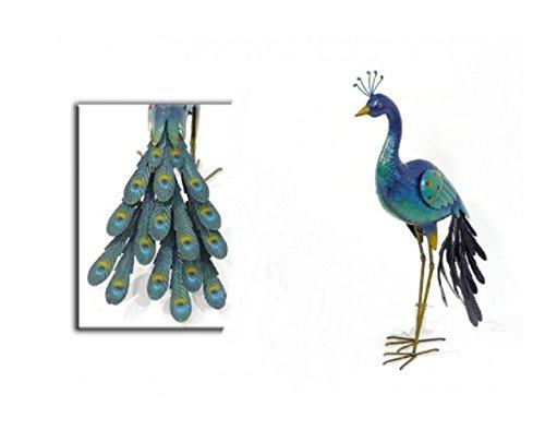 Caruso avec paon en métal coloré hauteur 79 cm, variante