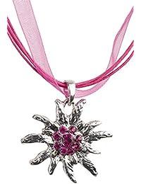 Trachtenkette Edelweiss Trachtenschmuck - Trachten Kette mit feinem Strass in div. Farben - Halskette für Dirndl und Lederhosen