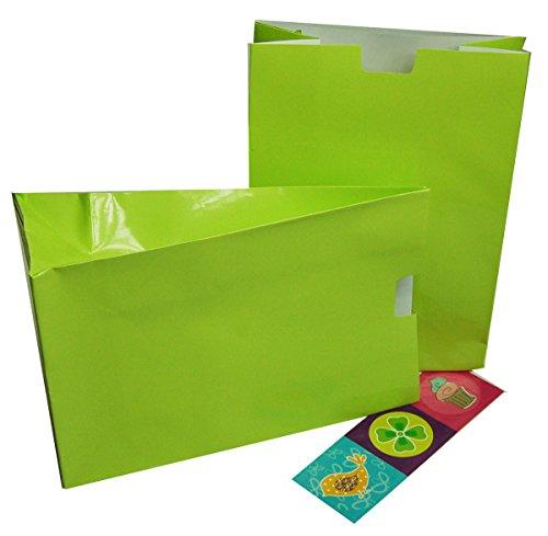 Sonderposten Geschenktüten (2er Pack) für Bücher oder andere Geschenke mit Sticker mit Farbauswahl (kiwi)