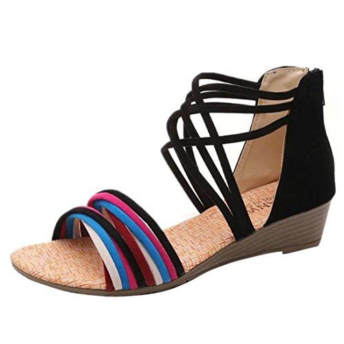 HCFKJ 2017 Hausschuhe Bohemia Flat Beach Sommer Sandalen Flip Shoes Frauen Thong Mode Flops Schwarz HH4Bxqgwr