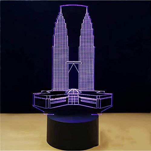 3D Vision Decor 7 Farbwechsel Petronas Twin Towers Gebäude Modellierung Led Schreibtischlampe Usb Baby Nachttischlampe Nachtlicht Geschenke - Lautsprecher-tower Farbwechsel