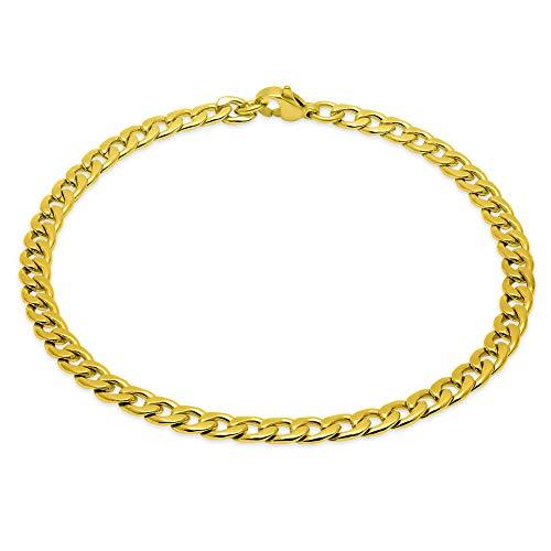 SoulCats®Königskette Panzerkette XXL Panzerarmband Set oder Einzeln Halskette Herren, Größe:5 mm;Farbe:Gold.;Auswahl:Armband 22 cm