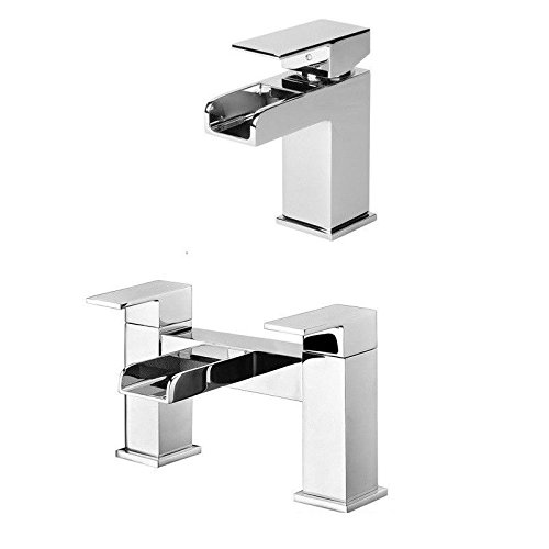 Chrom Wasserfall Waschbecken Mixer Wasserhahn + Badewannenarmatur Dusche Kopf Bad-Set - Beschlag-dusche-kopf