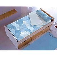 New Cotton Saco nórdico CON relleno NUBES AZUL para cama 90 x 190/200 + 1 funda de almohada. Saco unido a la bajera con cremallera. Con relleno nórdico.
