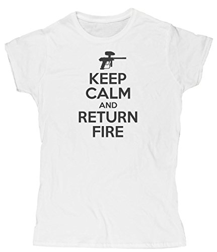 Hippowarehouse Keep Calm and Return fire Womens Fitted Short Sleeve t-Shirt (Specific Size Guide in Description)