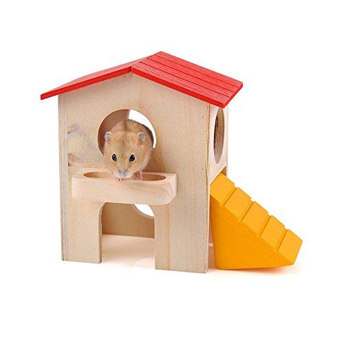 GKPLY Haustier-Kleines Tier-Versteck-Hamster-Haus-Deluxe Zwei Schichten Hölzerne Hütte Spiel-Spielzeug-Kauartikel