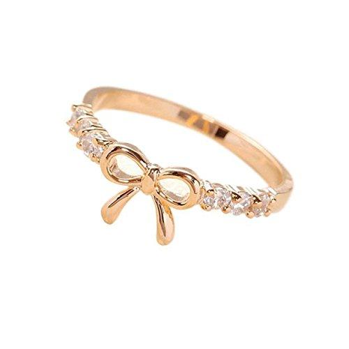 Koreanisch Schmuck (saihui Legierungs-Damen-Braut-Hochzeits-Verlobungsring-koreanischer Schmuck-einfacher Kristallbogen-Ring (Gold))