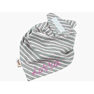 Jersey - Halstuch mit Namen personalisiert * Ringel grau rosa * Sabbertuch