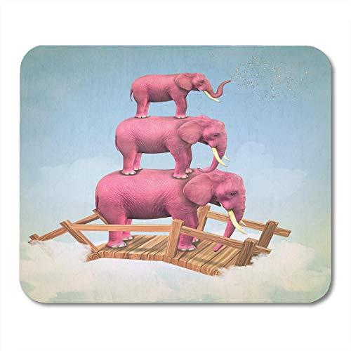 Deglogse Gaming-Mauspad-Matte, Vintage Blue Surreal Three Pink Elephants in The Sky on Bridge Magazine Computer Graphics Colorful Dream Mouse Pad (Bridge-magazin)