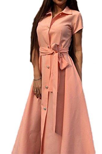 Donna elegante V collo singolo petto Swing svasato partito abito con cintura Pink