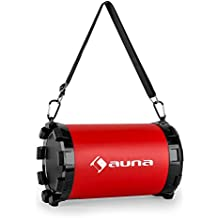 auna Dr. Black Boom 2.1 Bluetooth Altavoz (20w potencia máxima, radio FM, USB, SD, AUX, Batería) - Rojo