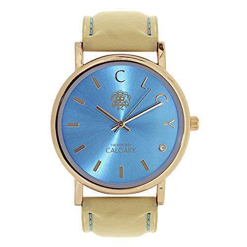 Relojes Calgary Golden Bay Watches Esfera Azul Turquesa con Correa Crema