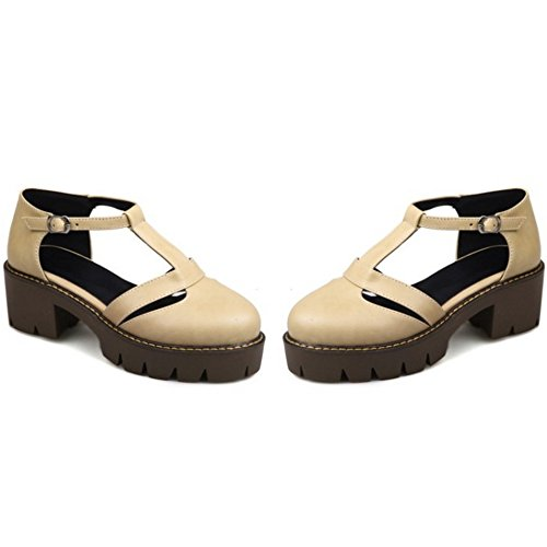 TAOFFEN Damen Retro Chunky Heel Geschlossene Toe T-Spange Schnalle Sommer Sandalen 711 Aprikose