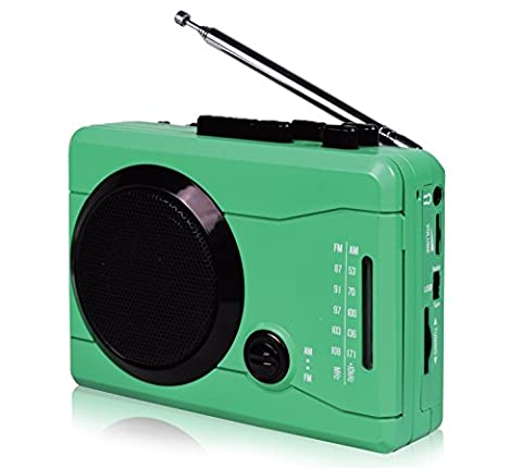 DigitNow! USB Mini Stereo Audio Retro Personal Cassette Player and Recorder with Earphones, Music loudspeaker & Wireless AM/FM Radio Flash Drive Recording analog 2 digital/ digital 2 analog Cassette Tape from/to MP3 Converter (Green)