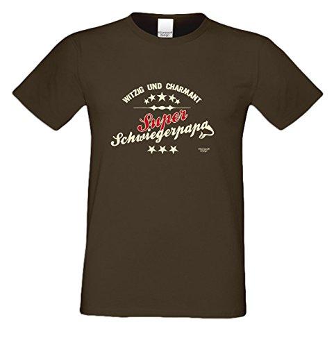 Vatertags T-Shirt - Super Schwiegerpapa - Witzig und Charmant - cooles Fun Shirt mit lustigem Spruch als Geschenk für Väter mit Humor Braun