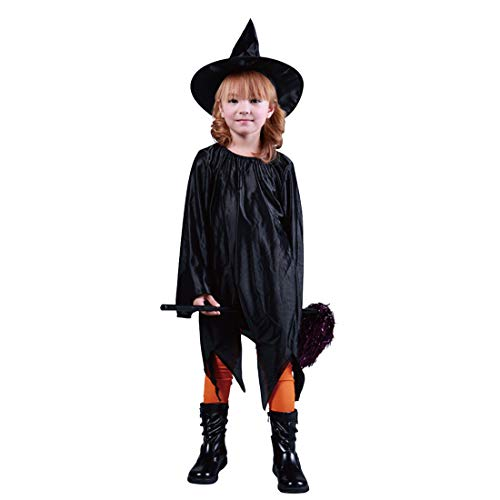 FLYA Halloween Kostüm Kinder Schwarz Dunkelelfen Kostüm Hexenkostüm - Hut/Kleid Länge 80cm,Ghost Clothing hat-Black