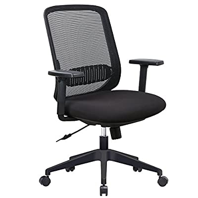 IWMHManager Mesh Mid-Back Chair with Adjustable Arms for Office or Computer Desk, Black produced by IntimaTe WM Heart - quick delivery from UK.