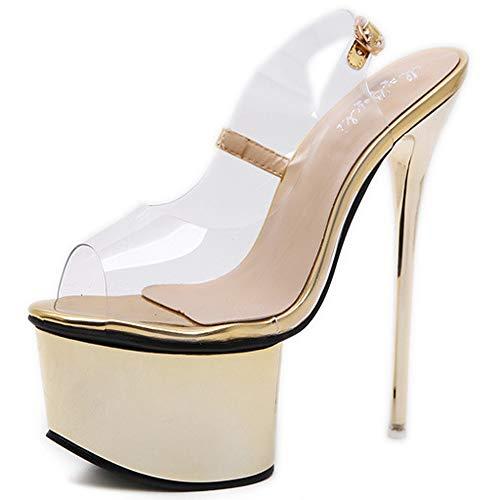 e Stiletto High Heels Plattform Party Super High Heels Sandalen Clubarbeit,Gold-EU36/230 ()