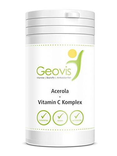 Acerola-Vitamin C Komplex, 90 Kautabletten - mit Vitamin C, Citrus Bioflavonoiden + OPC, Vegan - Geovis - 90 Tabletten mit je 900mg Acerola Pulver, Vegan