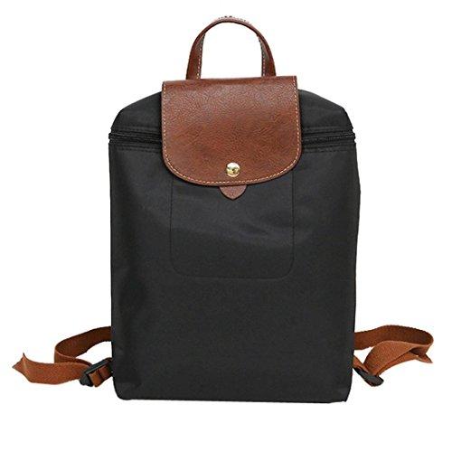 Cloom zaino, zaino unisex borsa da viaggio scuola doppia spalla borsa con cerniera con cerniera nylon borsa con cerniera zaino per studenti borsa pieghevole borsa a tracolla(nero,1pc)