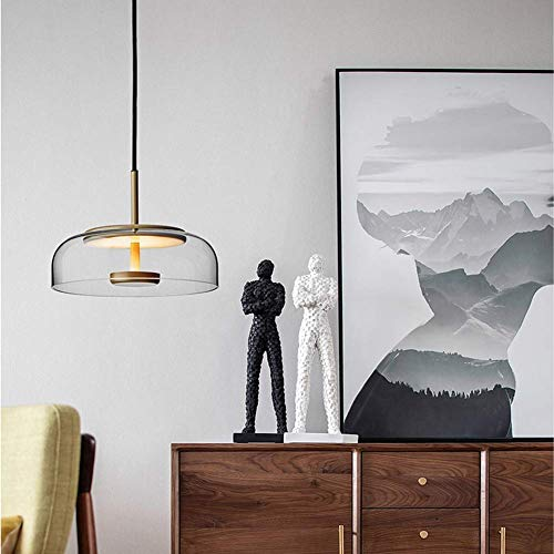 Transparent 7w Led (AOLIr Glas Transparent Nordic Led Kronleuchter, 7 Watt 1 Lampe Kronleuchter mit Gold Metall Kreative Dekorative Kronleuchter Höhenverstellbar Restaurant Küche Transparent)
