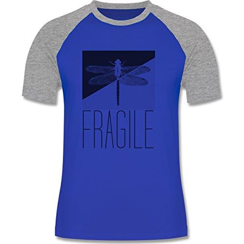 Statement Shirts - Fragile - Libelle - zweifarbiges Baseballshirt für Männer Royalblau/Grau meliert