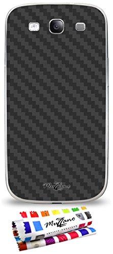 MUZZANO Wandtattoo Samsung Galaxy S3[Carbon] [schwarz] Eingabestift und Reinigungstuch angeboten-Der Schutz Kratzfest ultimative, Elegante und nachhaltige für Ihr Samsung Galaxy S3