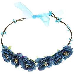 YAZILIND bohemio tela hecha a mano Margarita flor guirnalda novia de Dama de honor boda cabeza azul