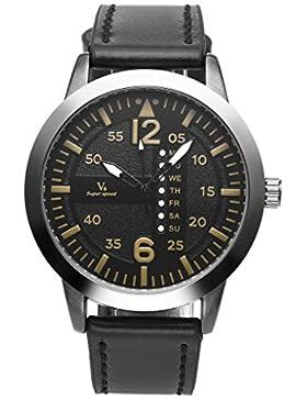 JSDDE Casual Armbanduhr 30M Wasserdicht Fake Kalender Deko Echtleder Armband Sport Stil Quarz Uhr Schwarz