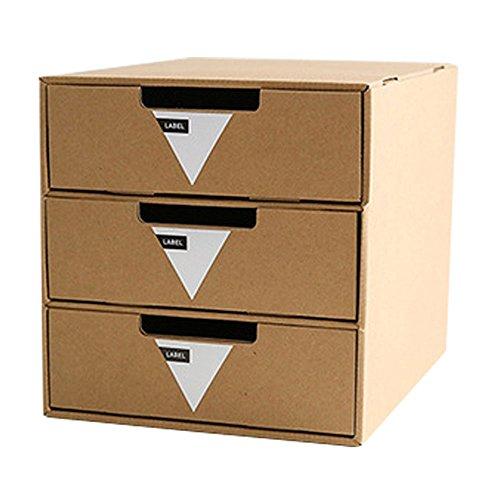 Baffect Karton Schublade mit 3 Schicht DIY Kraftpapier Desktop Storage stationäre Schublade Sorter Home Office A4 Archiv Aktenschrank Organizer ordentlich natürliche stapelbare Sortierung Box (Dreieck Etikett) (Schublade-storage-office)