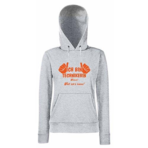 Damen Hoodie Ich bin Technikerin - weil ich's kann! Grau-Orange