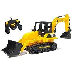 Top Race Chargeur de pelle rétrocaveuse fonctionnel à 8 canaux de RC, tracteur de construction télécommandé à télécommande électrique. TR-119