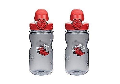 Nalgene OTF Kids-12Oz Flasche 2Stück 7,6cm in Durchmesser von 19,1cm hoch., Grey W/Red Cap, Racecar