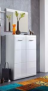 Matelpro-Meuble à chaussures design blanc brillant Maeva