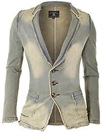 D R Fashion da Uomo Denim Giacca Sportiva con Bordi sfrangiati e Marmo Wash  Sguardo d60036433dd