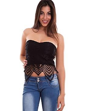 Toocool - Top donna corto maglia fascia pizzo maglietta bandeau coppe sexy nuovo CR-2153