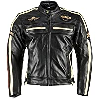 BOSMoto Motorradjacke Classic Urban f/ür Herren aus Leder Retro Bikerjacke herausnehmbares Thermofutter 5XL