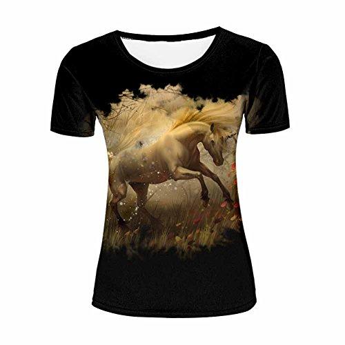 Womens Summer Fashion 3D Animal Printed White Horse Short Sleeve Black Casual T Shirts XL