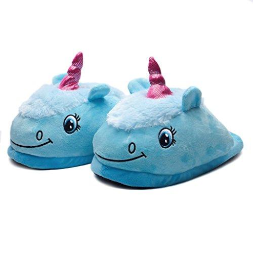 Katara 1770 Einhorn Unicorn Plüsch Haus-Slipper Pantoffeln für Damen/Erwachsene, Blau (Hinten offen), One Size