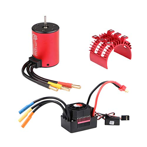 Crazepony-UK 3650 5200KV Brushless Motor with 60A ESC Electronic Speed Controller and Aluminum Heat Sink Waterproof Combo Set 3.175mm Shaft for 1/10 RC Car
