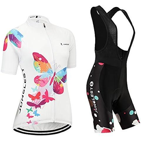[Cojín 3D][traje[strap blancas] tamaño:M] rendimiento ropa chaleco corta ciclismo rompevientos transpirable para de mujer los manga Jerseys