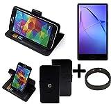K-S-Trade® Case Schutz Hülle Für -Leagoo KIICA Mix- + Bumper Handyhülle Flipcase Smartphone Cover Handy Schutz Tasche Walletcase Schwarz (1x)